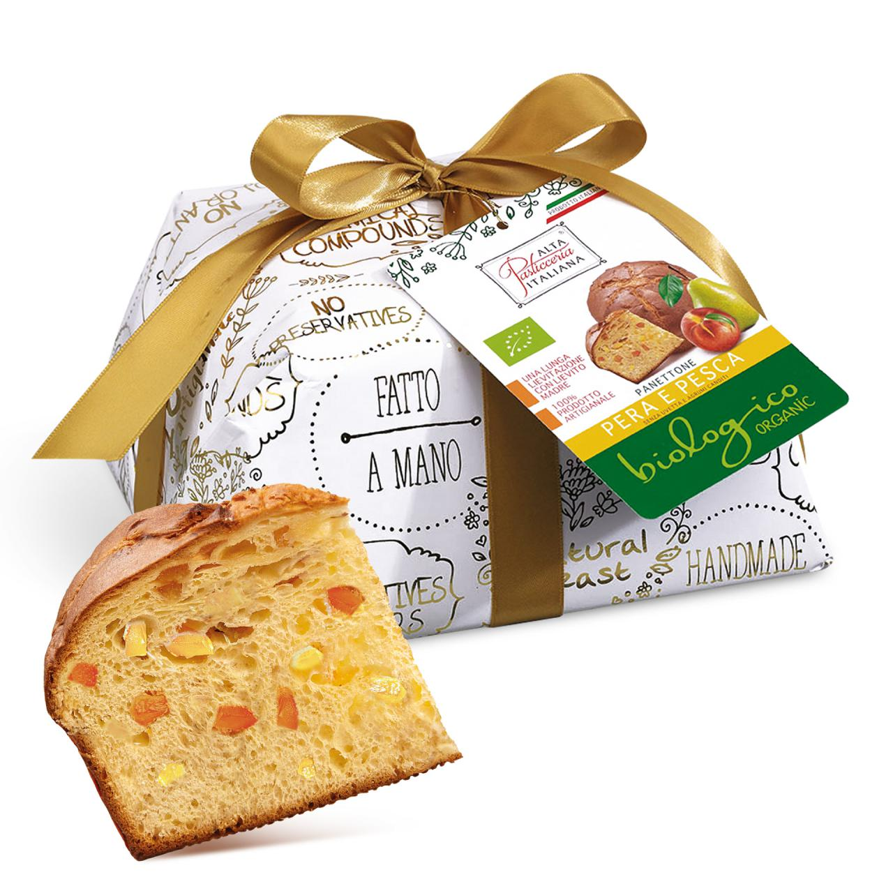 PEAR AND PEACH ORGANIC PANETTONE INCARTO ORO