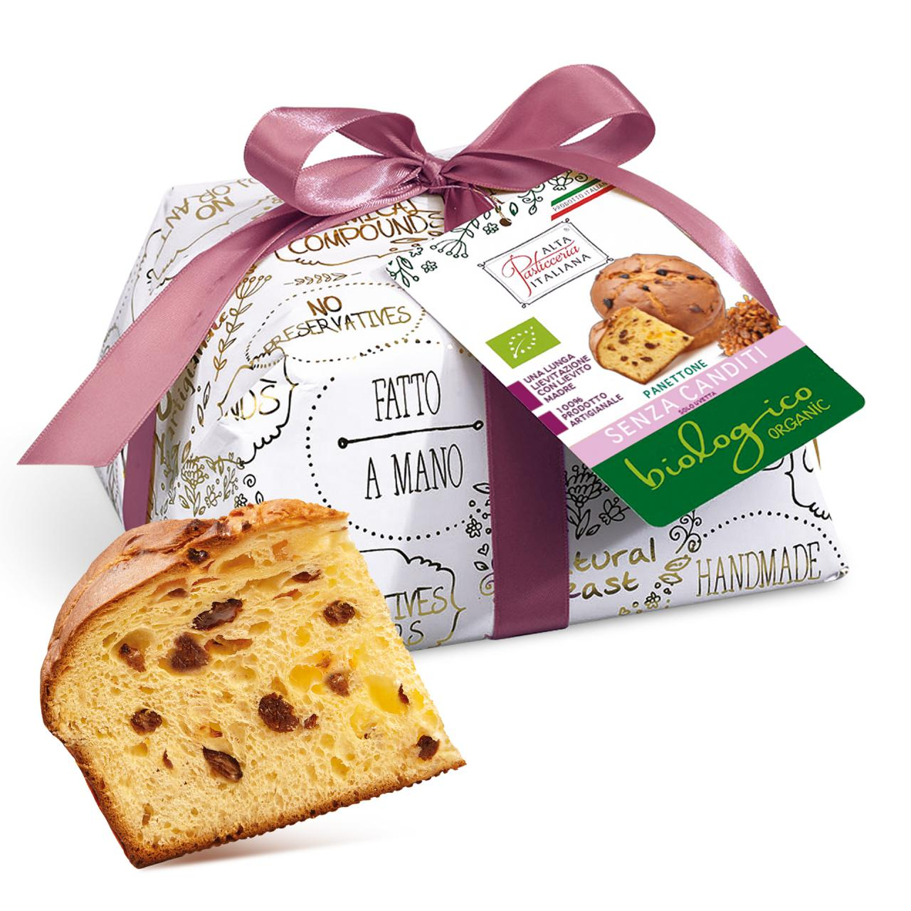 ORGANIC PANETTONE WITHOUT CANDIED CITRUS FRUIT INCARTO ORO