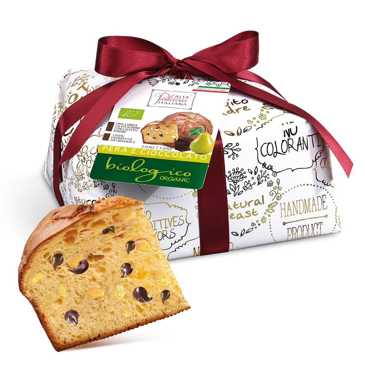 PEAR AND CHOCOLATE ORGANIC PANETTONE INCARTO ORO